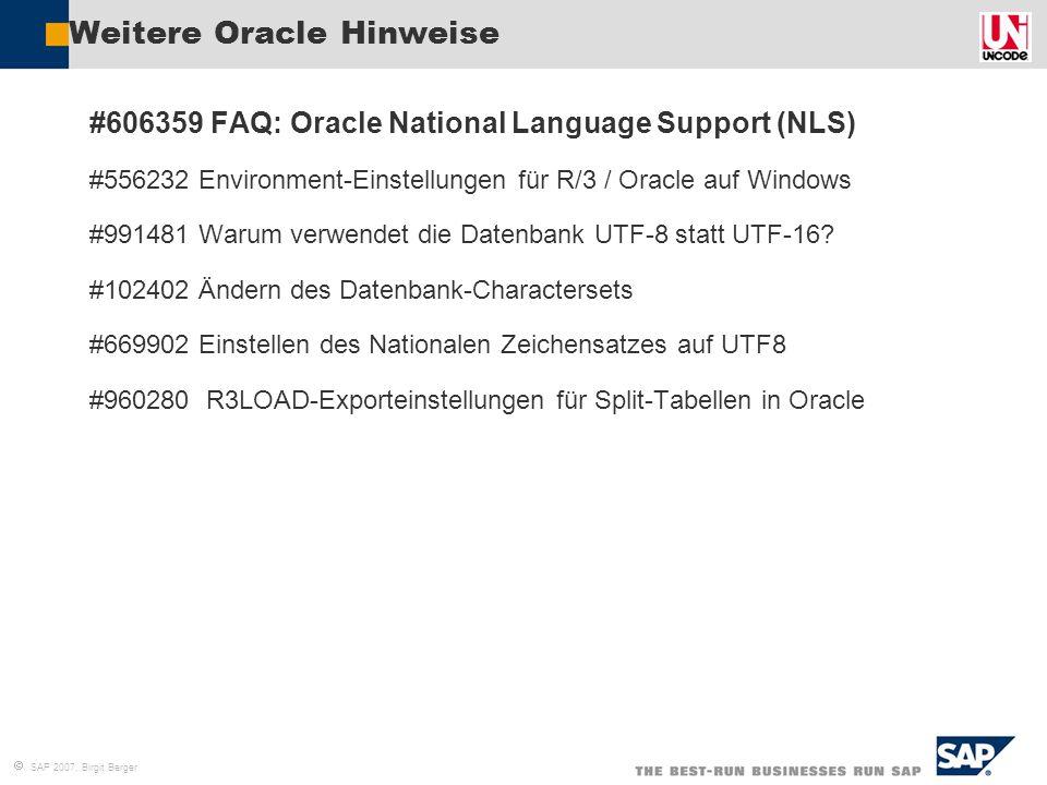 Weitere Oracle Hinweise