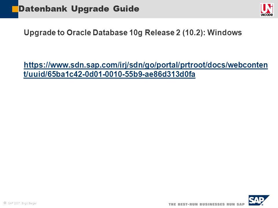 Datenbank Upgrade Guide
