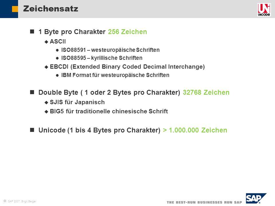 Zeichensatz 1 Byte pro Charakter 256 Zeichen