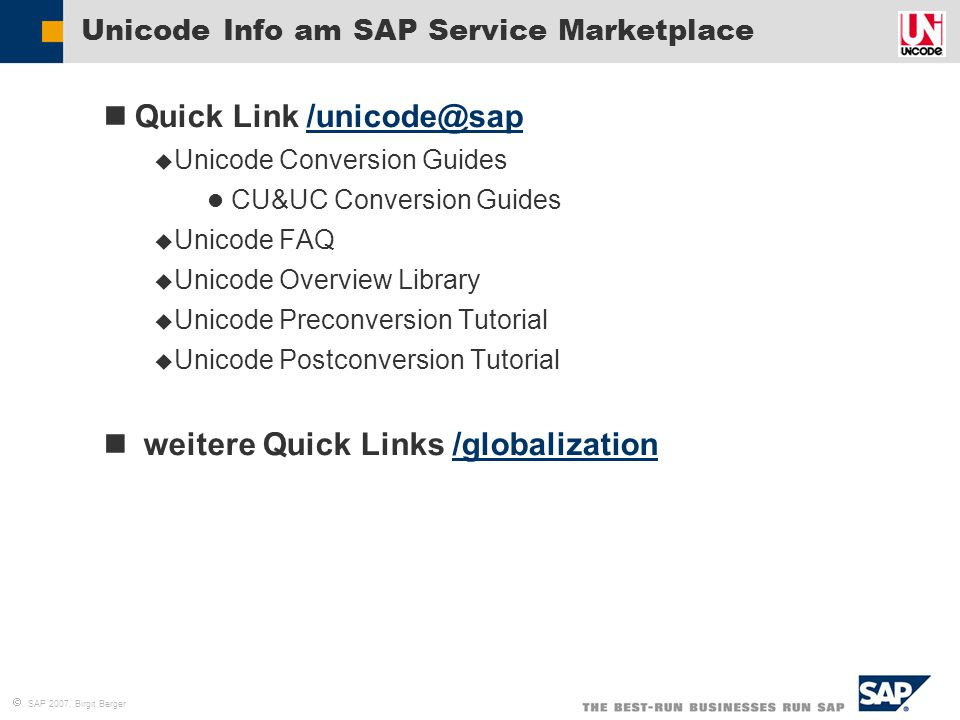 Unicode Info am SAP Service Marketplace