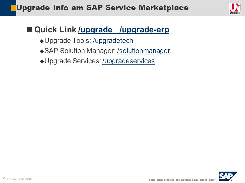 Upgrade Info am SAP Service Marketplace