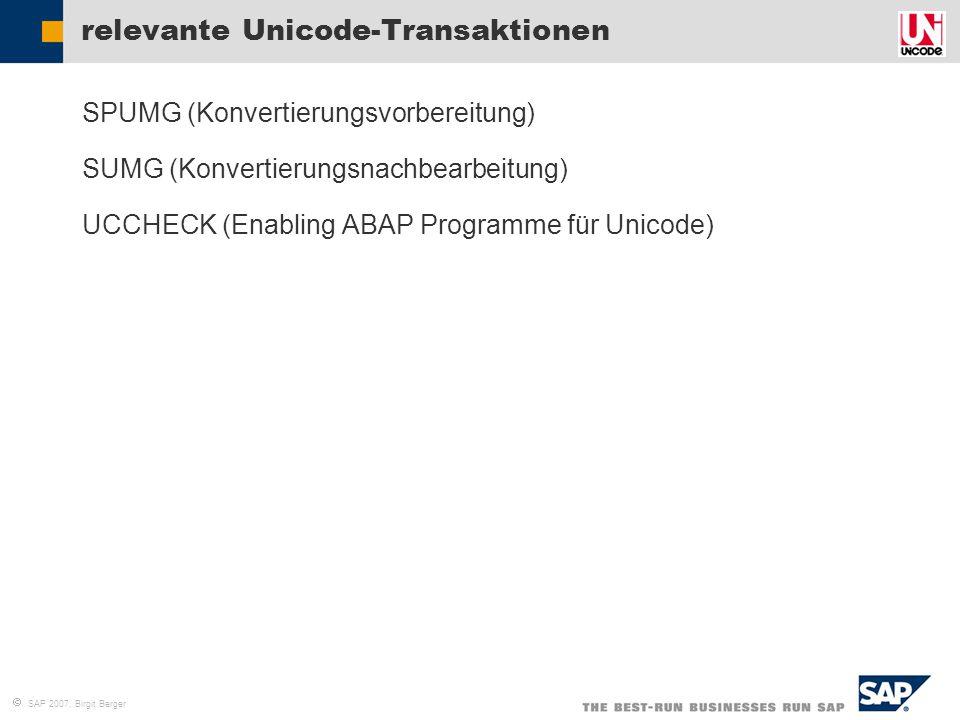 relevante Unicode-Transaktionen
