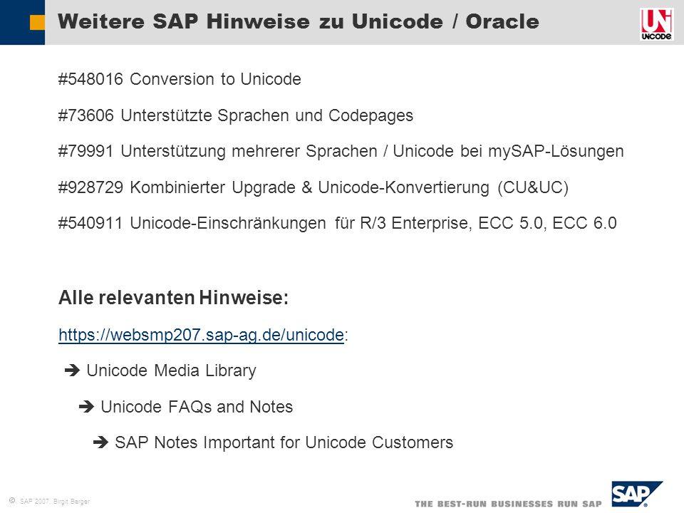 Weitere SAP Hinweise zu Unicode / Oracle