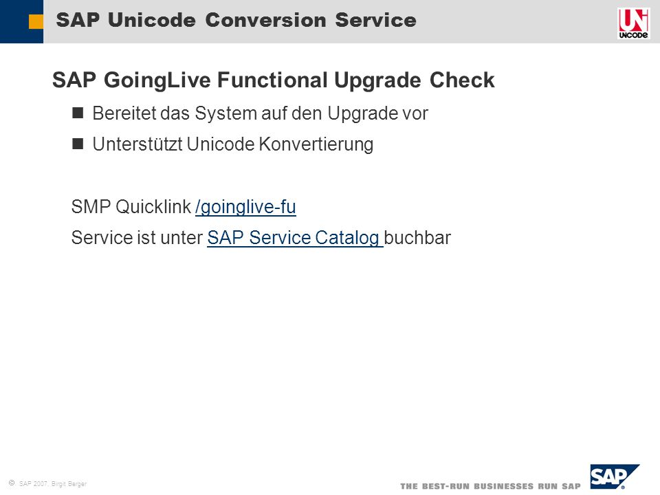 SAP Unicode Conversion Service