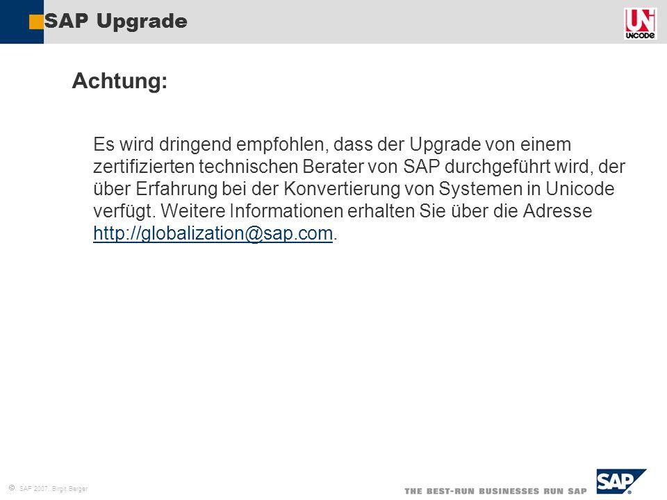 SAP Upgrade Achtung: