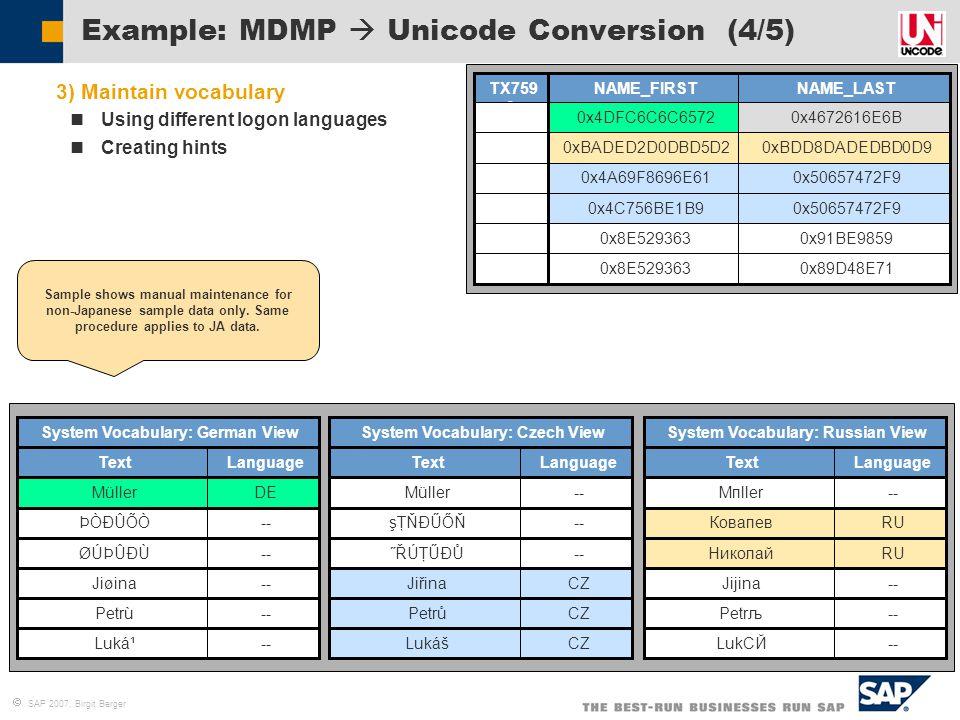 Example: MDMP  Unicode Conversion (4/5)