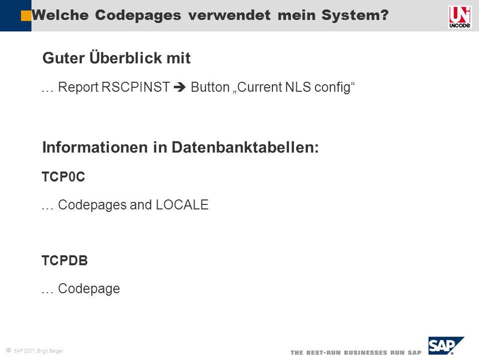 Welche Codepages verwendet mein System
