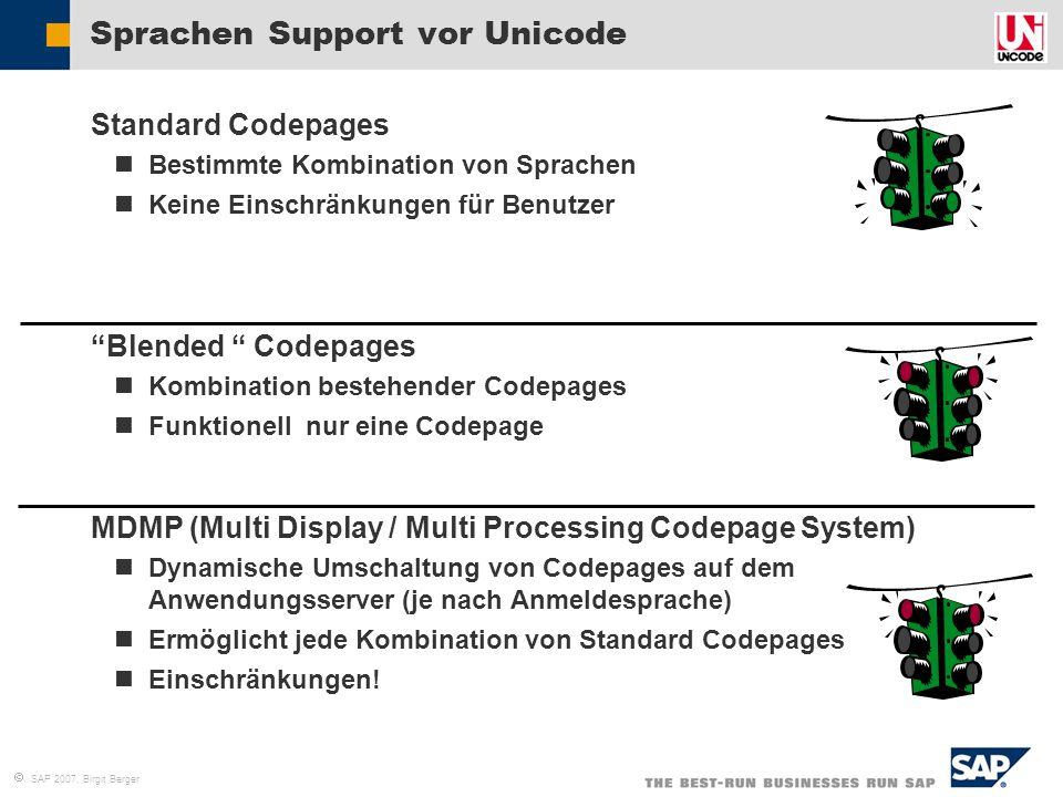 Sprachen Support vor Unicode