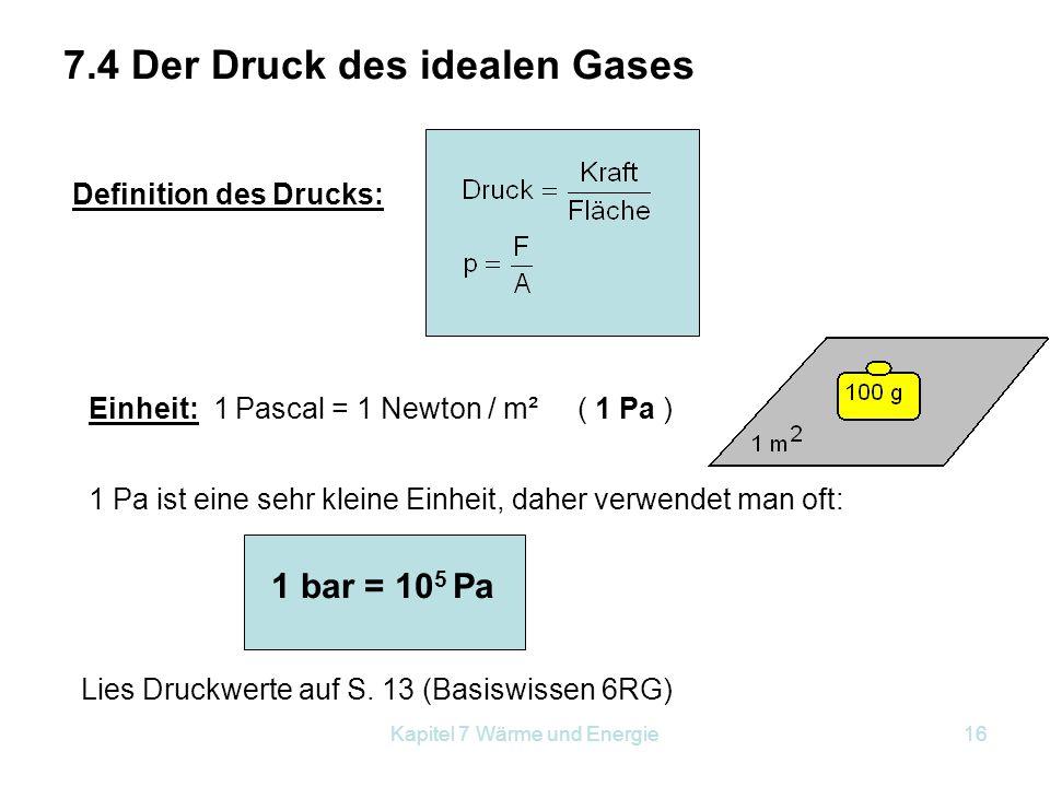 7.4 Der Druck des idealen Gases