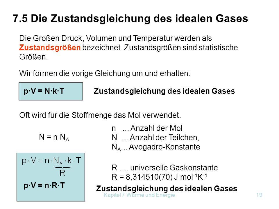 7.5 Die Zustandsgleichung des idealen Gases