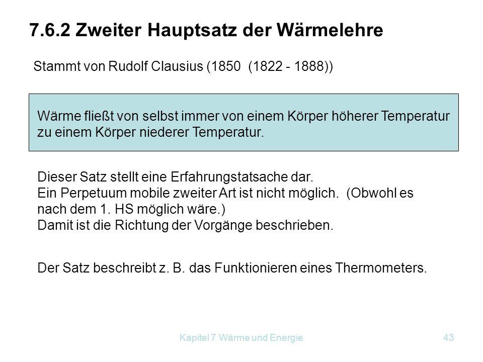 7.6.2 Zweiter Hauptsatz der Wärmelehre