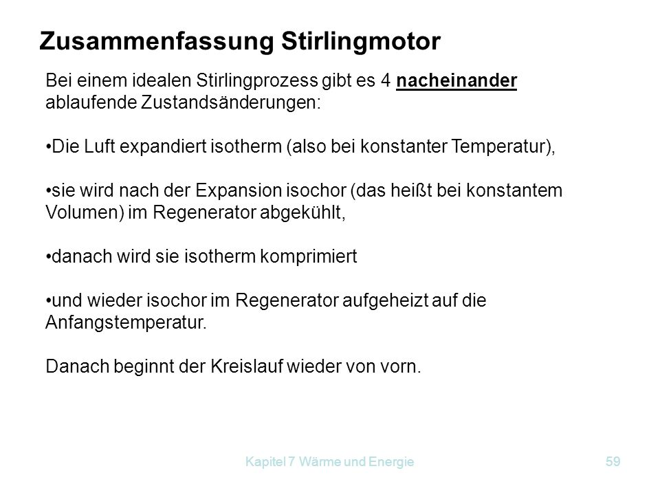Zusammenfassung Stirlingmotor