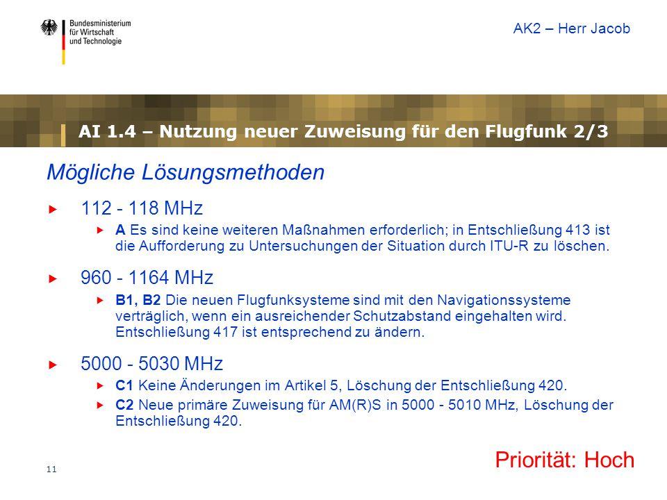 AI 1.4 – Nutzung neuer Zuweisung für den Flugfunk 2/3