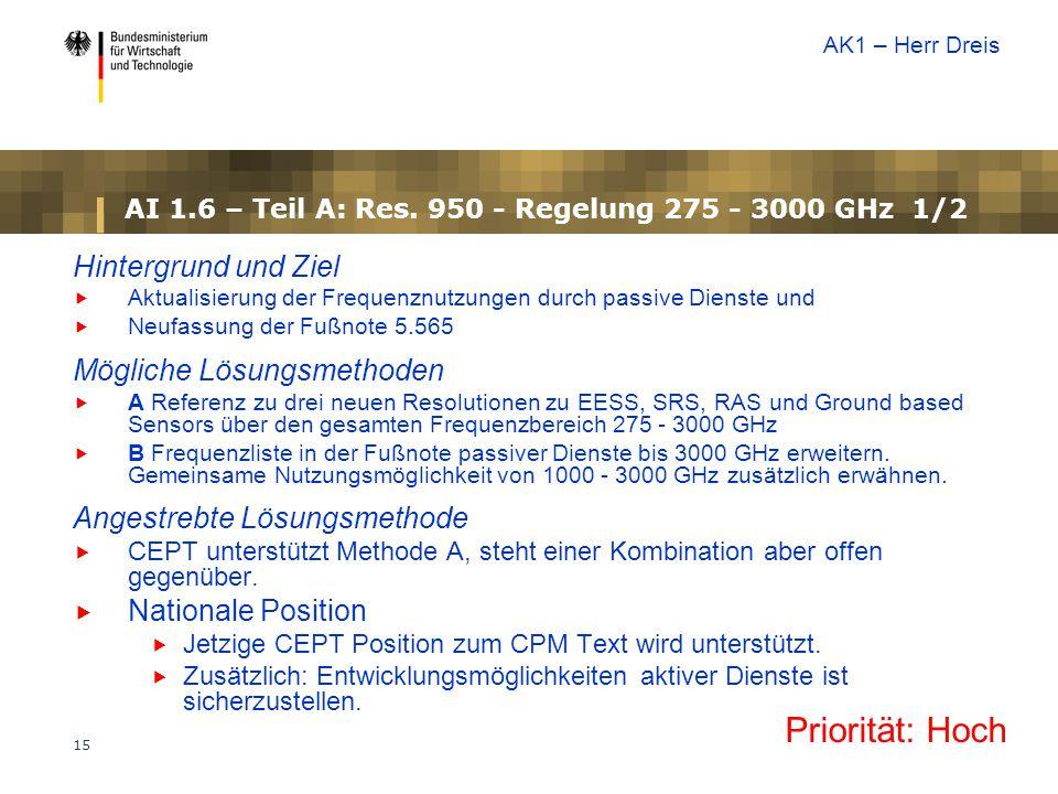 AI 1.6 – Teil A: Res. 950 - Regelung 275 - 3000 GHz 1/2