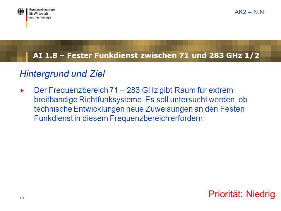 AI 1.8 – Fester Funkdienst zwischen 71 und 283 GHz 1/2