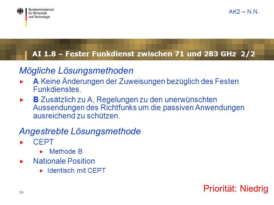 AI 1.8 – Fester Funkdienst zwischen 71 und 283 GHz 2/2