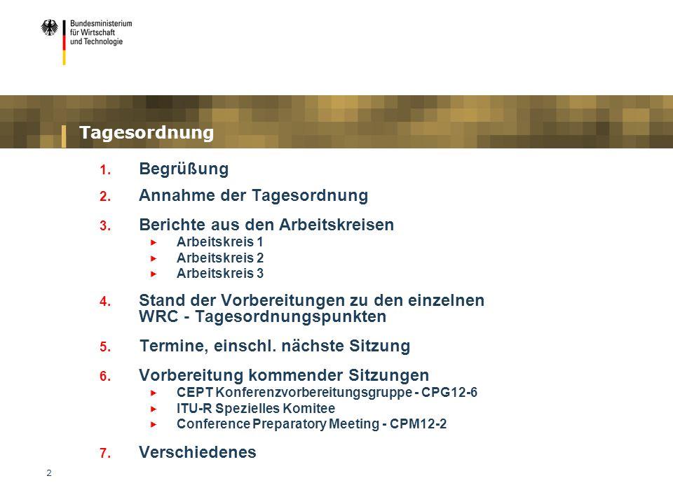 Annahme der Tagesordnung Berichte aus den Arbeitskreisen