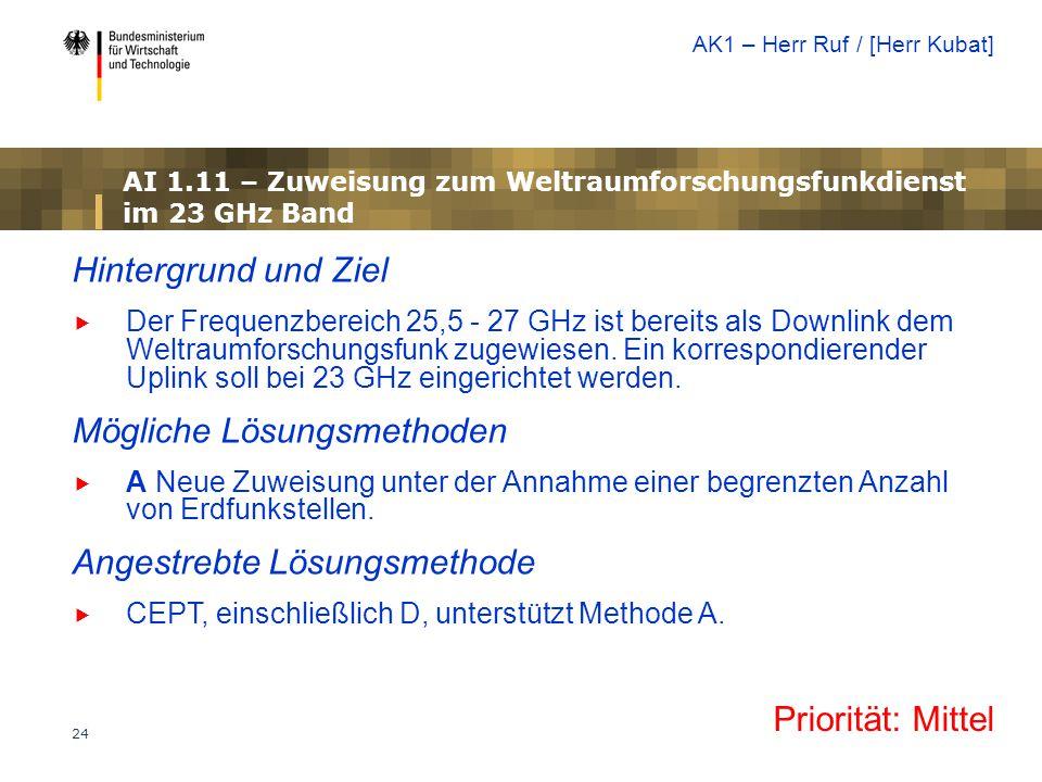AI 1.11 – Zuweisung zum Weltraumforschungsfunkdienst im 23 GHz Band