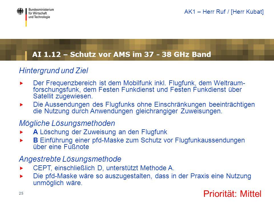 AI 1.12 – Schutz vor AMS im 37 - 38 GHz Band
