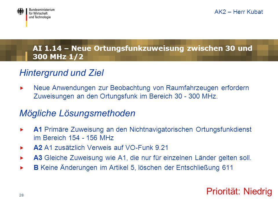 AI 1.14 – Neue Ortungsfunkzuweisung zwischen 30 und 300 MHz 1/2