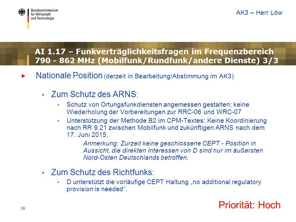 AK3 – Herr Löw AI 1.17 – Funkverträglichkeitsfragen im Frequenzbereich 790 - 862 MHz (Mobilfunk/Rundfunk/andere Dienste) 3/3.
