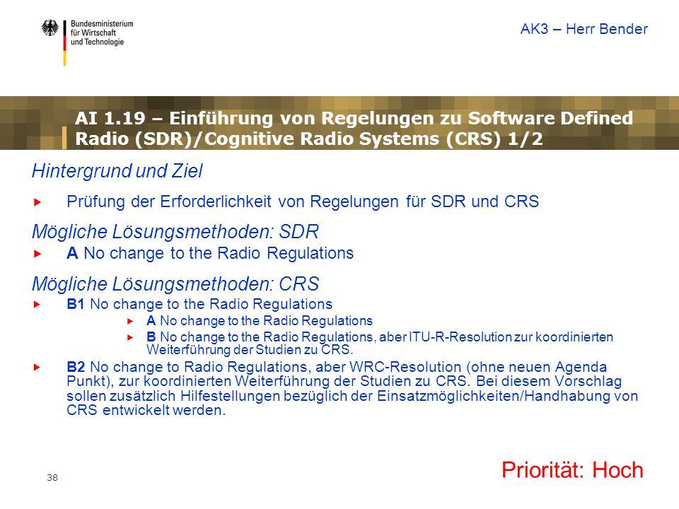 Priorität: Hoch Hintergrund und Ziel Mögliche Lösungsmethoden: SDR