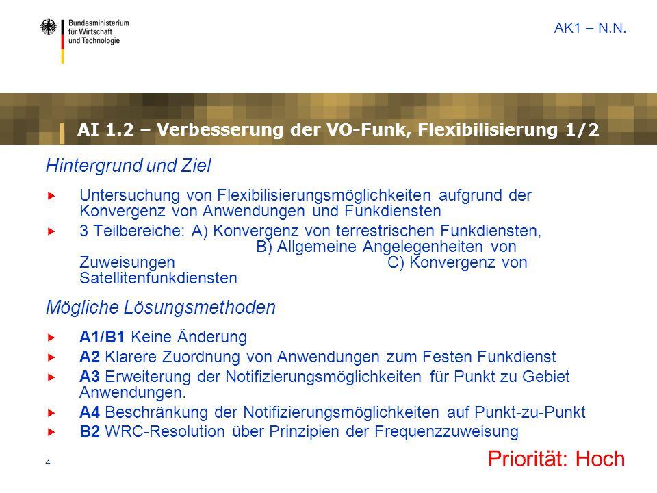 AI 1.2 – Verbesserung der VO-Funk, Flexibilisierung 1/2