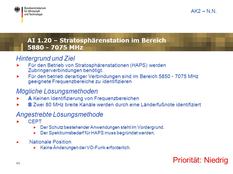 AI 1.20 – Stratosphärenstation im Bereich 5880 - 7075 MHz