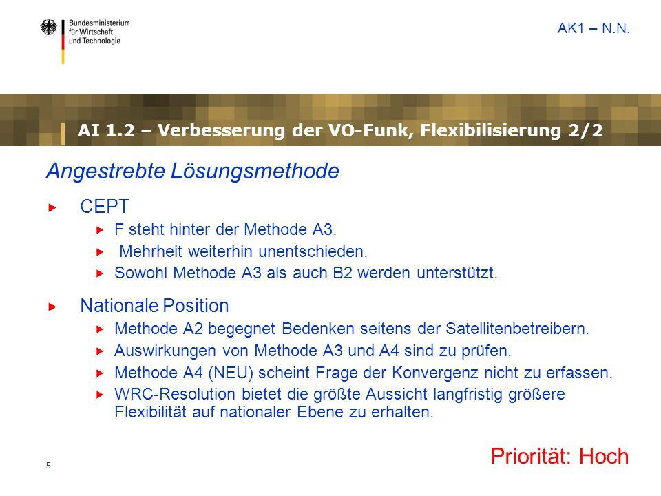 AI 1.2 – Verbesserung der VO-Funk, Flexibilisierung 2/2