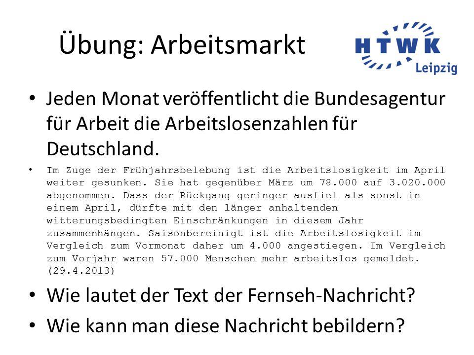 Übung: Arbeitsmarkt Jeden Monat veröffentlicht die Bundesagentur für Arbeit die Arbeitslosenzahlen für Deutschland.