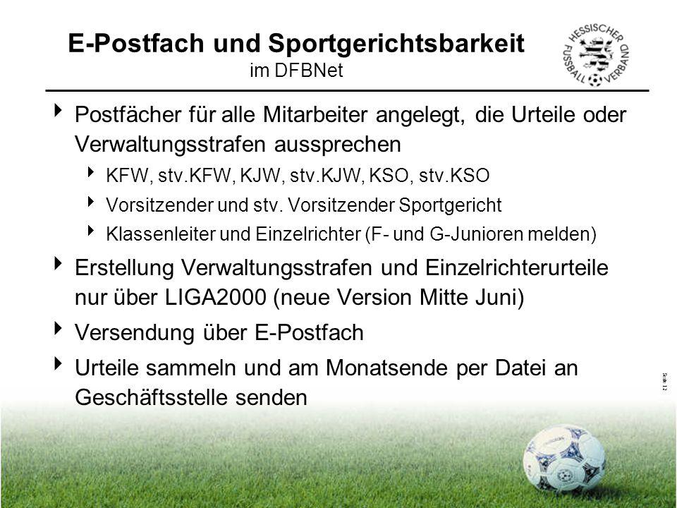 E-Postfach und Sportgerichtsbarkeit im DFBNet