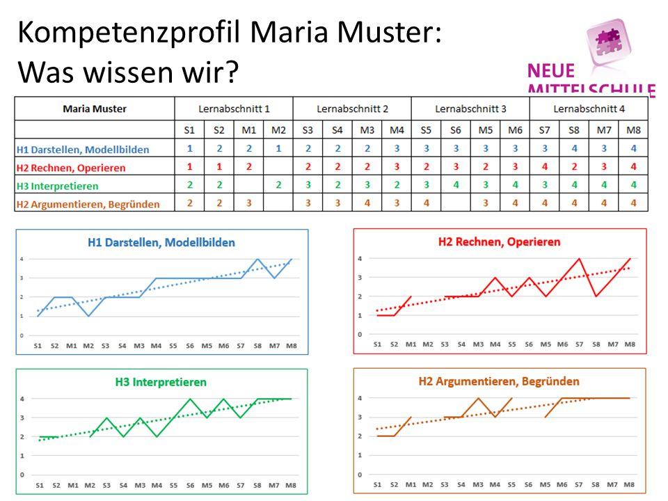 Kompetenzprofil Maria Muster: Was wissen wir