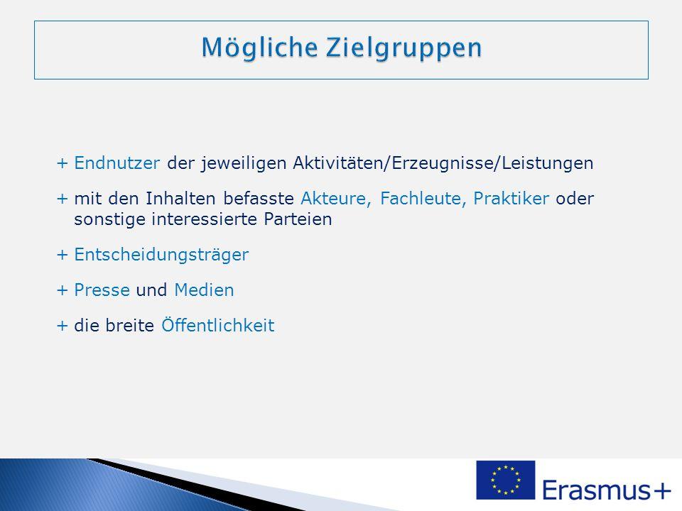 Mögliche Zielgruppen Endnutzer der jeweiligen Aktivitäten/Erzeugnisse/Leistungen.