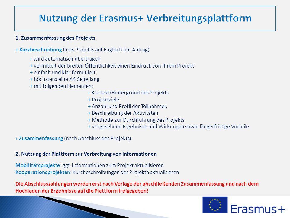 Nutzung der Erasmus+ Verbreitungsplattform
