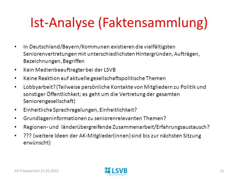 Ist-Analyse (Faktensammlung)