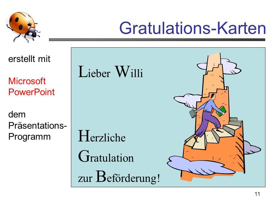 Gratulations-Karten Lieber Willi Herzliche Gratulation