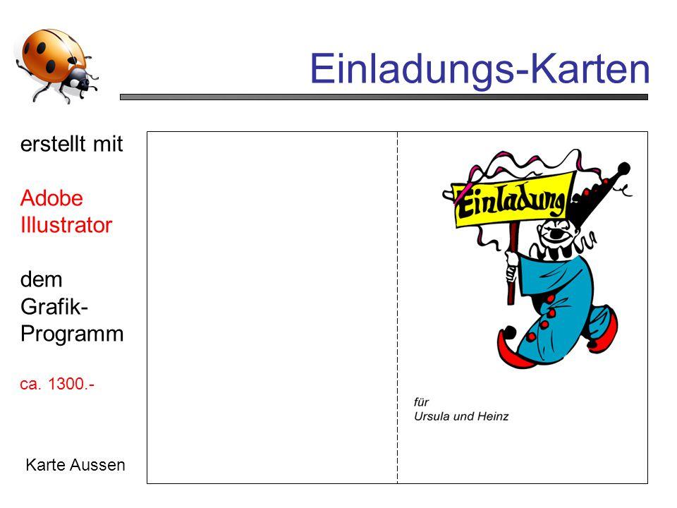 Einladungs-Karten erstellt mit Adobe Illustrator dem Grafik- Programm