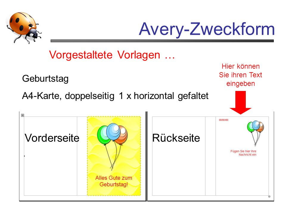 Avery-Zweckform Vorgestaltete Vorlagen … Vorderseite Rückseite