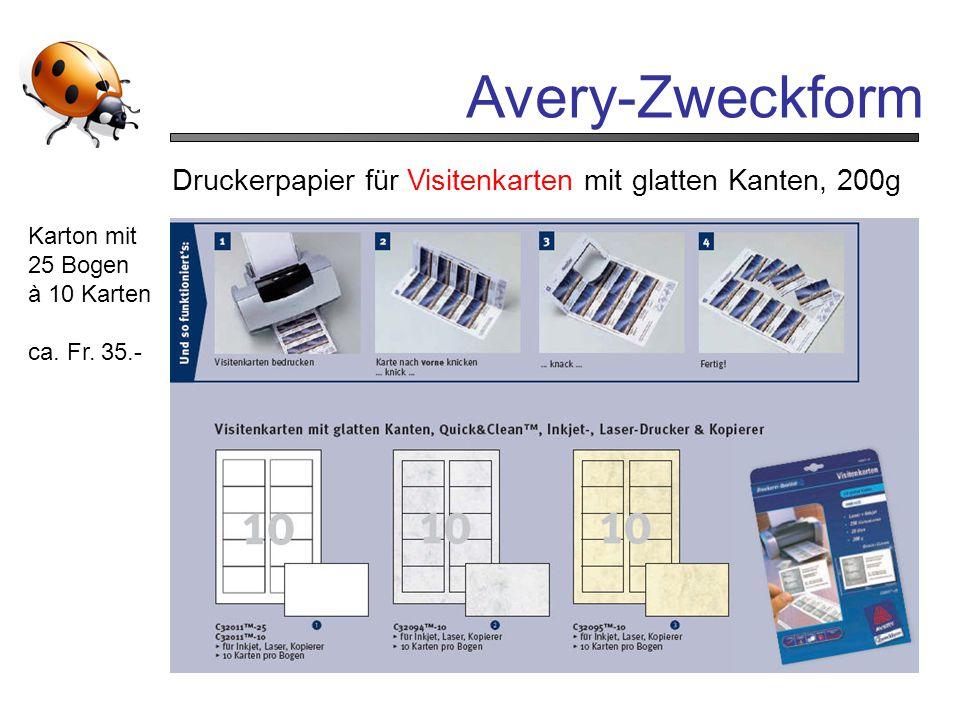 Avery-Zweckform Druckerpapier für Visitenkarten mit glatten Kanten, 200g. Karton mit. 25 Bogen. à 10 Karten.
