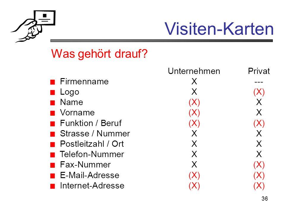 Visiten-Karten Was gehört drauf Unternehmen Privat Firmenname X ---