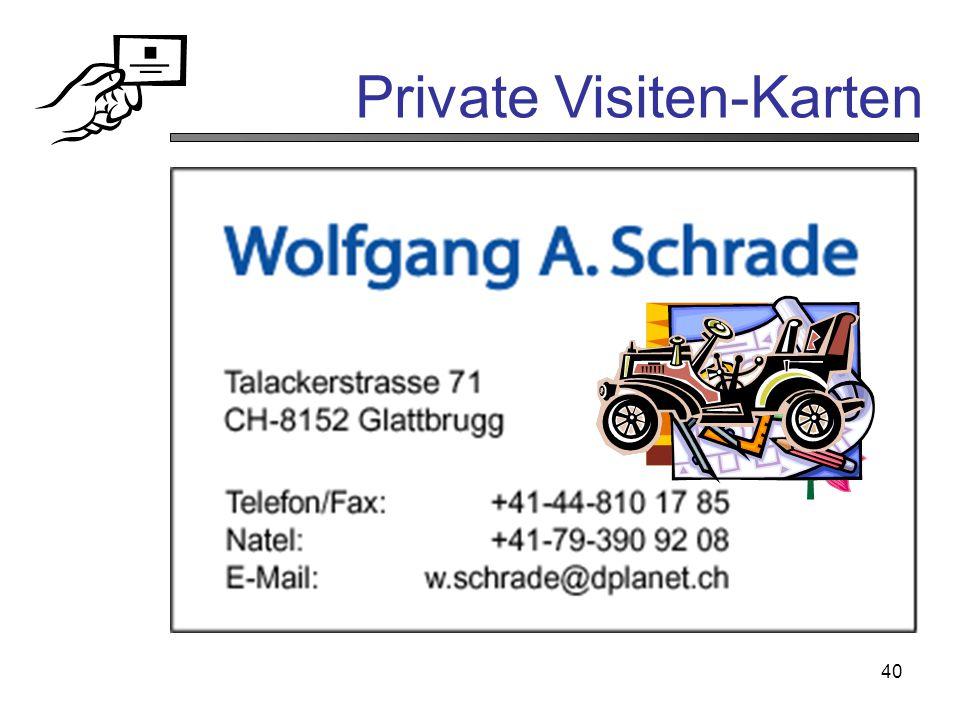 Private Visiten-Karten