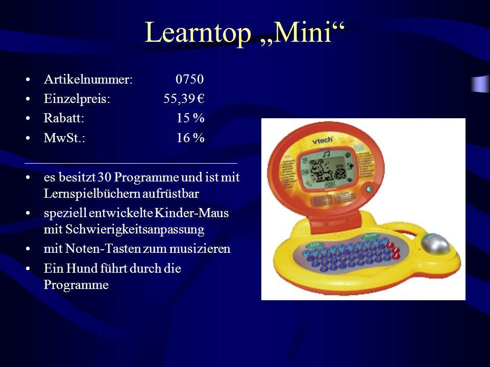 "Learntop ""Mini Artikelnummer: 0750 Einzelpreis: 55,39 € Rabatt: 15 %"