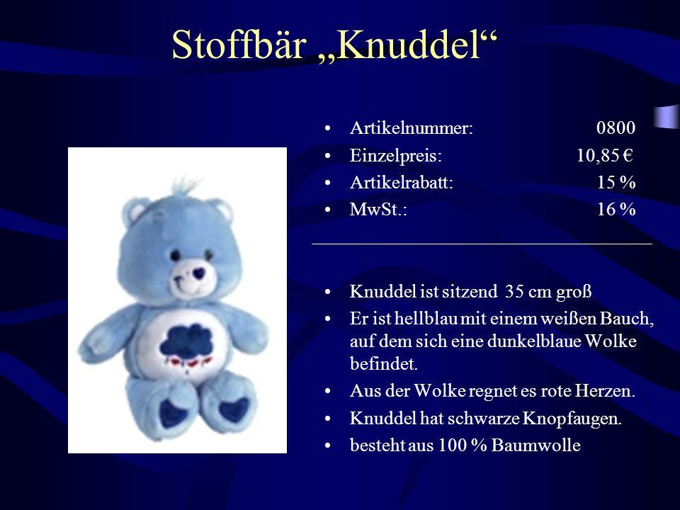 """Stoffbär """"Knuddel Artikelnummer: 0800 Einzelpreis: 10,85 €"""