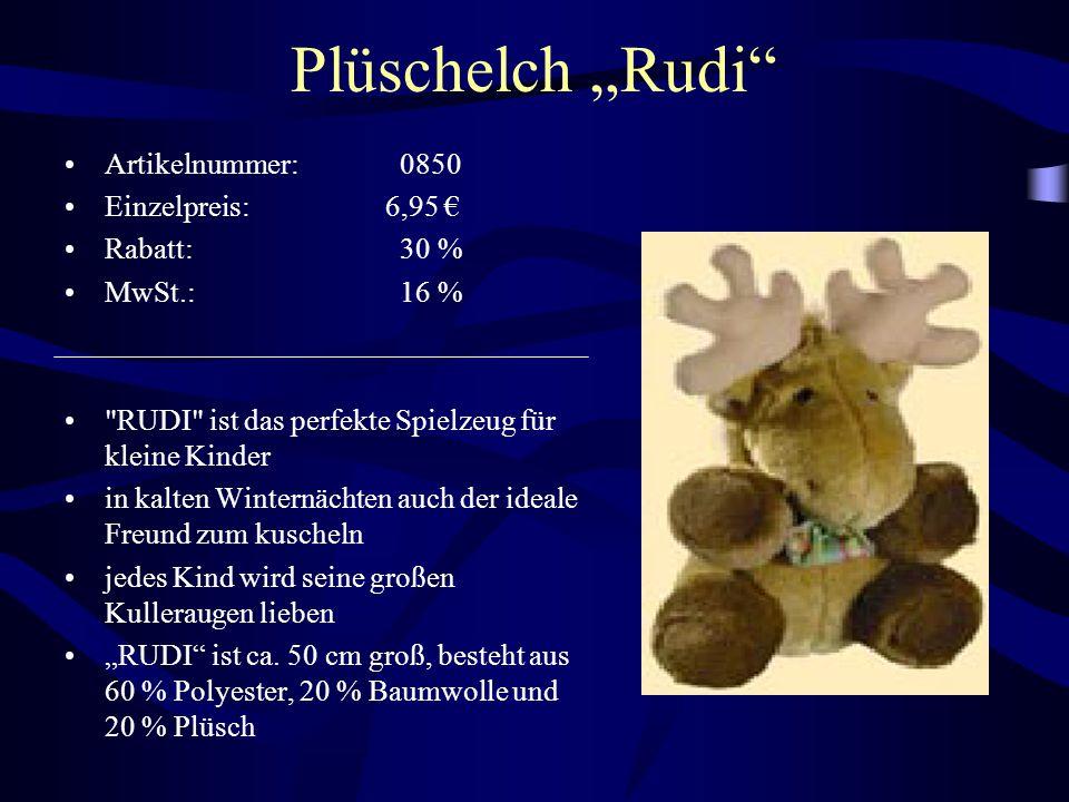 """Plüschelch """"Rudi Artikelnummer: 0850 Einzelpreis: 6,95 € Rabatt: 30 %"""