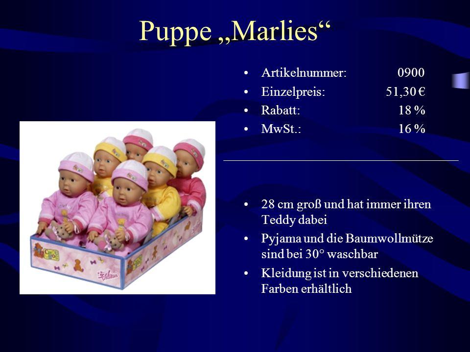 """Puppe """"Marlies Artikelnummer: 0900 Einzelpreis: 51,30 € Rabatt: 18 %"""