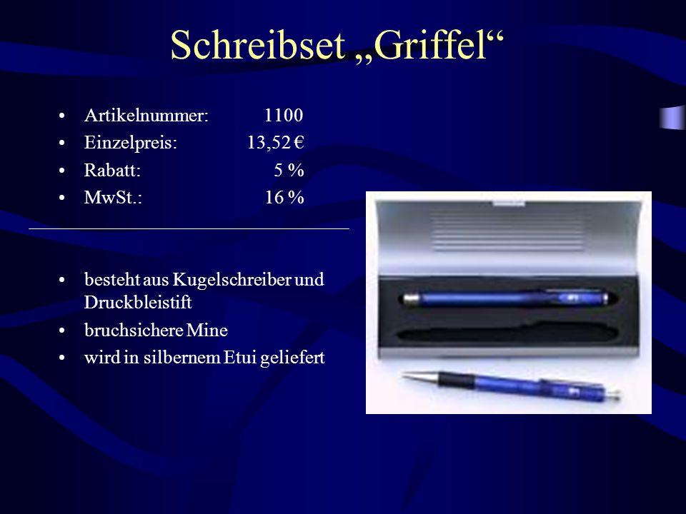 """Schreibset """"Griffel Artikelnummer: 1100 Einzelpreis: 13,52 €"""
