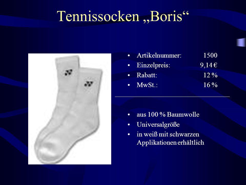 """Tennissocken """"Boris Artikelnummer: 1500 Einzelpreis: 9,14 €"""