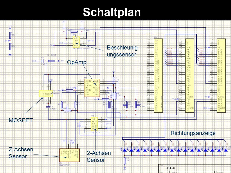 Schaltplan Beschleunigungssensor OpAmp MOSFET Richtungsanzeige