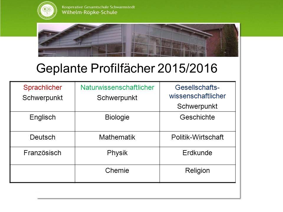 Geplante Profilfächer 2015/2016