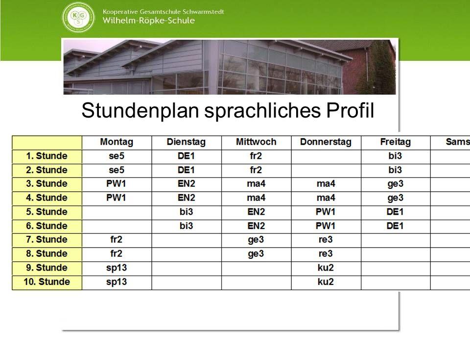 Stundenplan sprachliches Profil